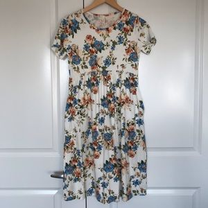 Orange Creek Short-Sleeve Floral Midi Dress